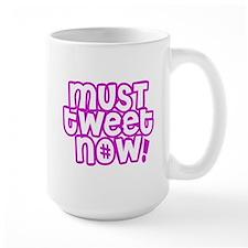 MUST tweet NOW purple white outline Ceramic Mugs