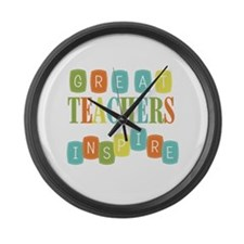 Great Teachers Inspire Large Wall Clock
