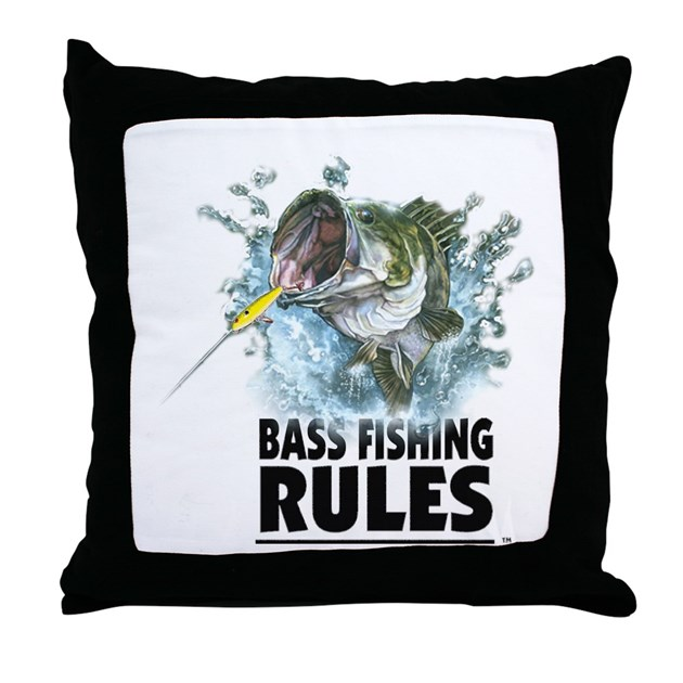 BASS FISHING RULES...STRIKE! Throw Pillow by whattacharacter