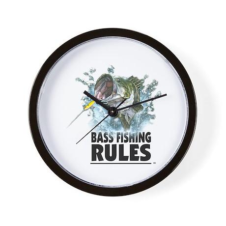 BASS FISHING RULES...STRIKE! Wall Clock
