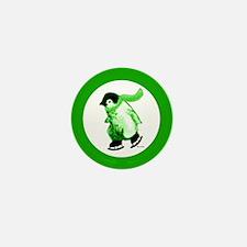 Green Penguins on Ice Mini Button