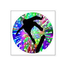 "Skateboard Flip Out in Fire Square Sticker 3"" x 3"""