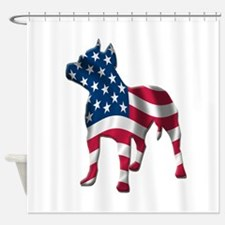 pit bull usa silhouette.png Shower Curtain