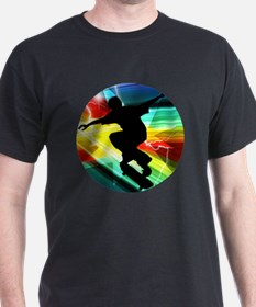 Skateboarding on Criss Cross Lightnin T-Shirt