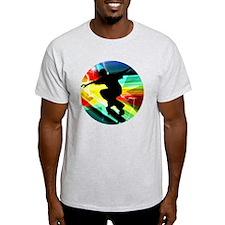 Skateboarding on Criss Cross Lightni T-Shirt