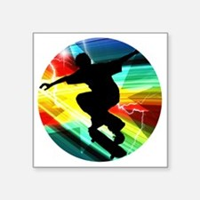 "Skateboarding on Criss Cros Square Sticker 3"" x 3"""