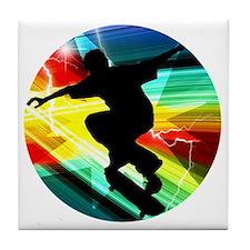 Skateboarding on Criss Cross Lightnin Tile Coaster