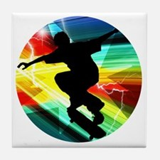 Skateboarding on Criss Cross Lightnin Tile Coaster