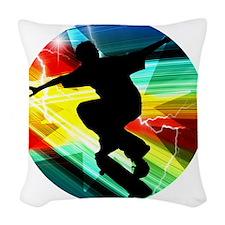 Skateboarding on Criss Cross L Woven Throw Pillow