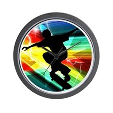 Skateboarding on Criss Cross Lightning Wall Clock
