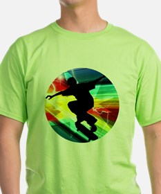 Skateboarding on Criss Cross Lightni T-Shirt