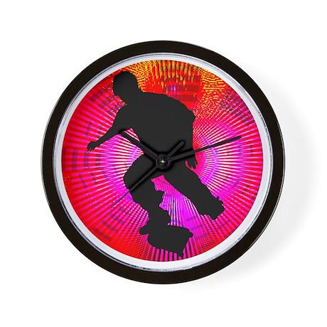 Skateboarding on Fluorescent Starburst Wall Clock