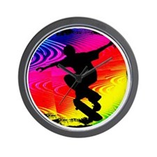 Skateboarding on Rainbow Grunge Wall Clock