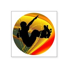 "Skateboarding Silhouette in Square Sticker 3"" x 3"""