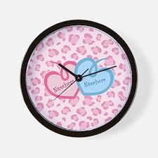 Custom Names Hearts Wall Clock