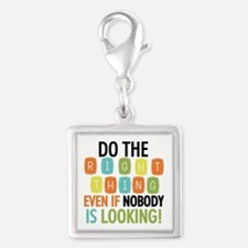 Do The Right Thing Silver Square Charm