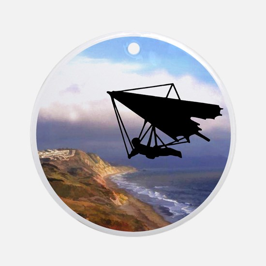 Hang Gliding Over the California Co Round Ornament