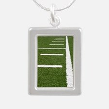 Football Lines Silver Portrait Necklace