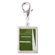 Football Lines Silver Portrait Charm