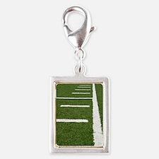 Football Lines Silver Portrait Charm