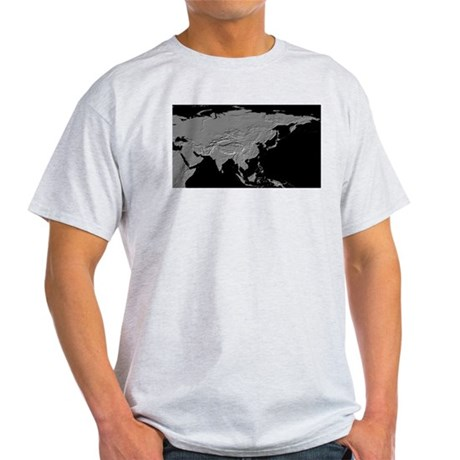 Asia Relief Map Ash Grey T-Shirt