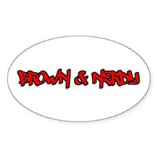Brown and Nerdy Oval Decal