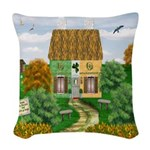 St Patricks Day Cottage Woven Throw Pillow