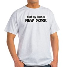 Left my Heart: NEW YORK Ash Grey T-Shirt