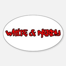 White and Nerdy Oval Decal
