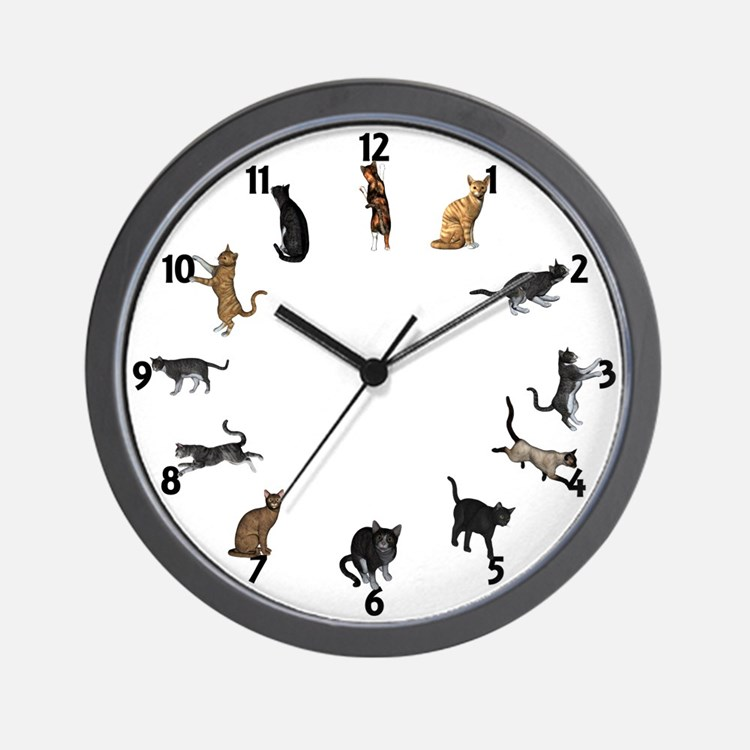 playful cats wall clock - Designer Kitchen Wall Clocks