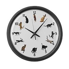 Playful Cats Large Wall Clock