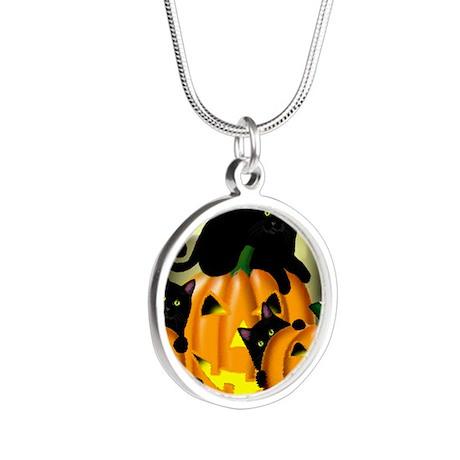 blackcat copy Silver Round Necklace