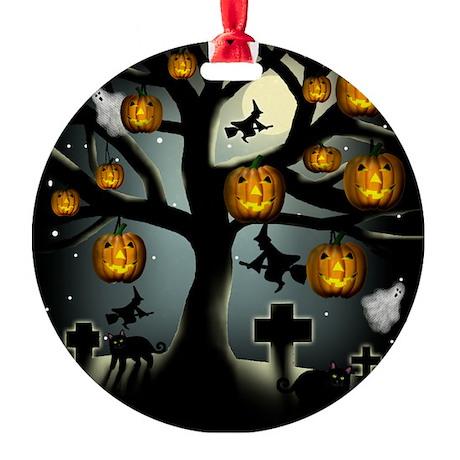 halloweentree copy Round Ornament