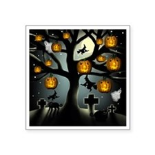 "halloweentree copy          Square Sticker 3"" x 3"""