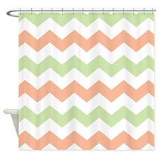 Chevron Peach Green White Shower Curtain