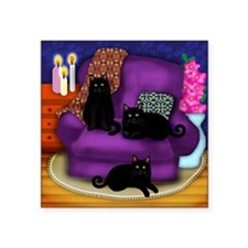 "catsflowercandles copy      Square Sticker 3"" x 3"""