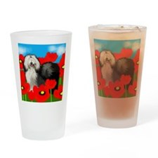 oldsheepdogppopies copy             Drinking Glass