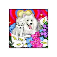 "eskiesheartsflowers copy    Square Sticker 3"" x 3"""