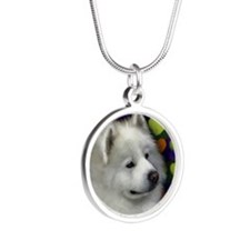 samoyed 3 copy Silver Round Necklace