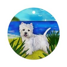 westiebeach copy Round Ornament