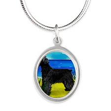schnaucerbeach copy Silver Oval Necklace