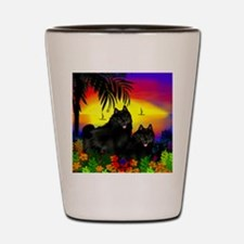 schipperkesunset copy Shot Glass