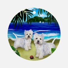 westiebeach 2copy Round Ornament