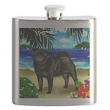 Black pug beach copy Flask Bottles
