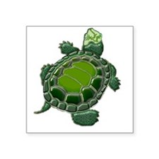 "3D Textured Turtle Square Sticker 3"" x 3"""