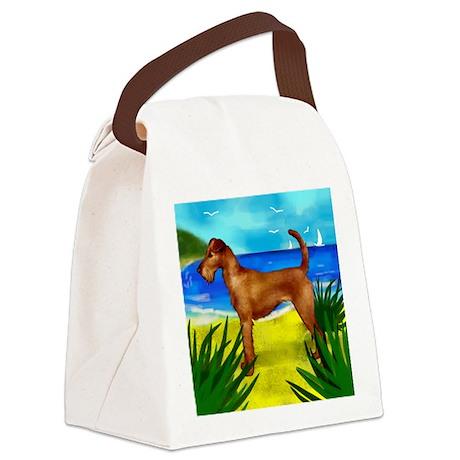 irishterrierbeach copy Canvas Lunch Bag