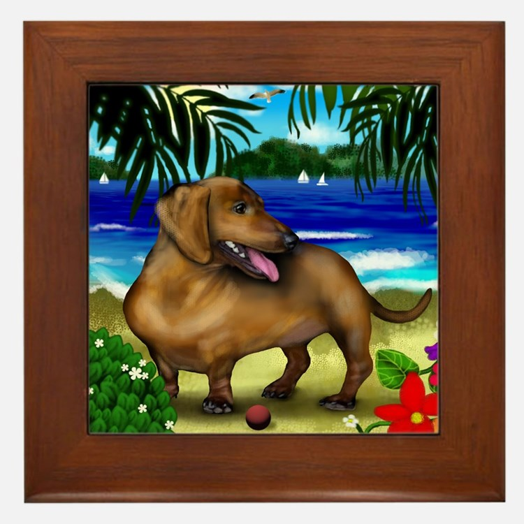 duchshundbeach copy Framed Tile