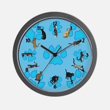 Playful Cats And Paws Wall Clock