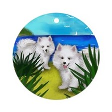 eskidogsbeach copy Round Ornament