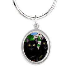 blcatscherry copy Silver Oval Necklace